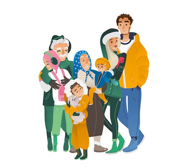 Vector de dibujos animados gran personaje familiar abrazando invierno Vector Premium
