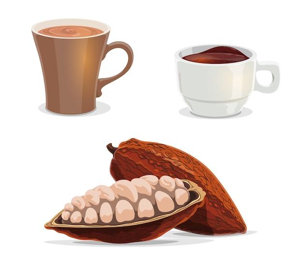 Vector de dibujos animados de granos de cacao, cacao, chocolate caliente o café de comida y bebida. Vector Premium