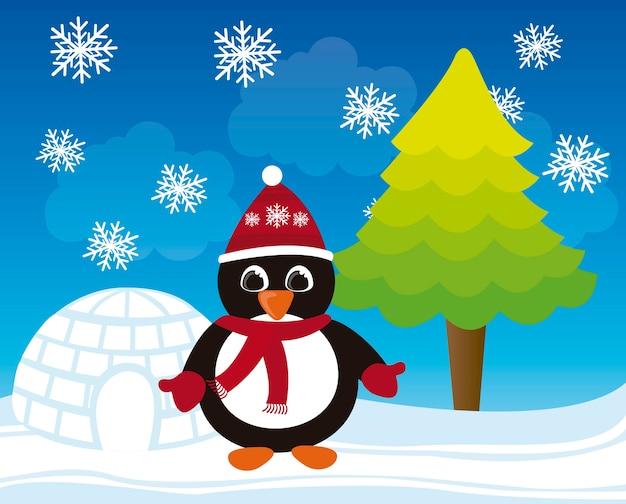 Vector De Dibujos Animados Pingüino Navidad Invierno Paisaje