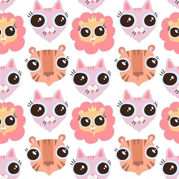 Vector de dibujos animados plano divertido gato, liom y tigre cabezas de patrones sin fisuras. fondo plano felino. caras con ojos grandes. Vector Premium