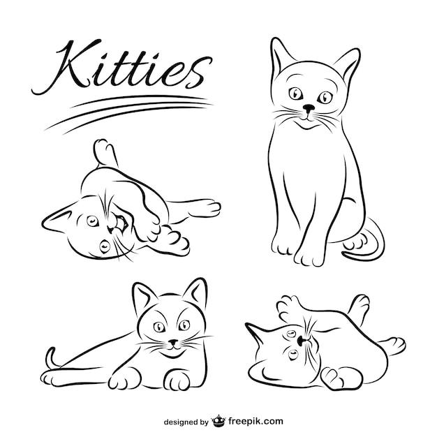 Vector dibujos de gatos vector gratuito