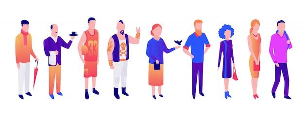 Vector de diferentes personas de edad, jóvenes hombres y mujeres. Vector Premium
