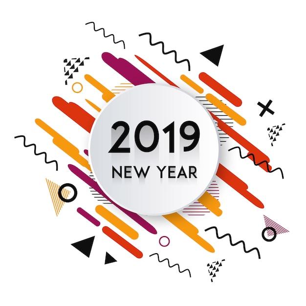 Vector diseño de año nuevo de memphis 2019 vector gratuito