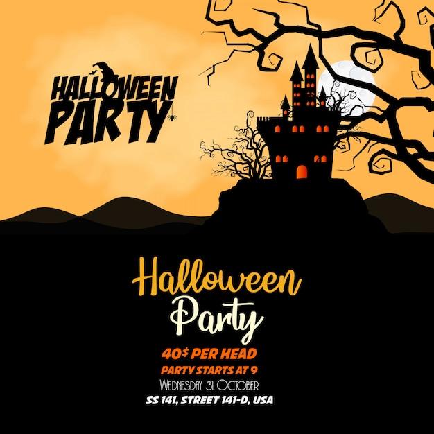 Vector de diseño de banners de invitación de halloween feliz Vector Premium