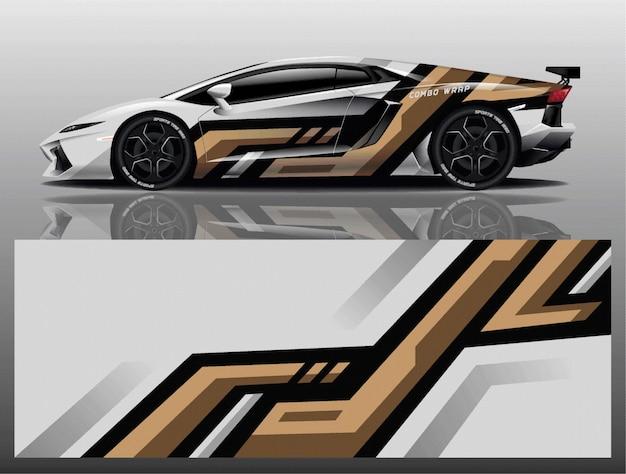 Vector de diseño de envoltura de calcomanía de coche deportivo Vector Premium
