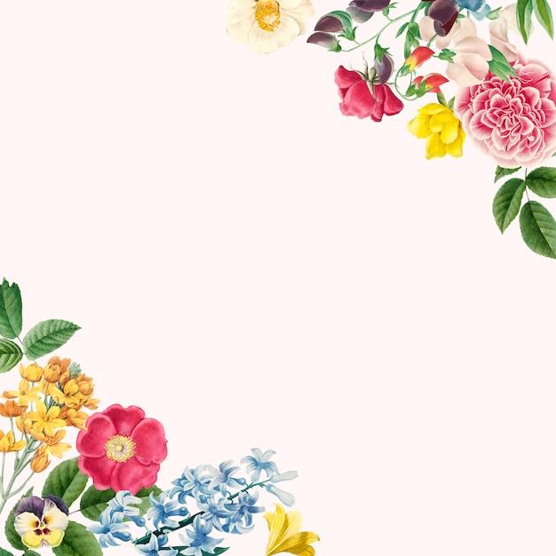 Vector de diseño hermoso borde floral vector gratuito