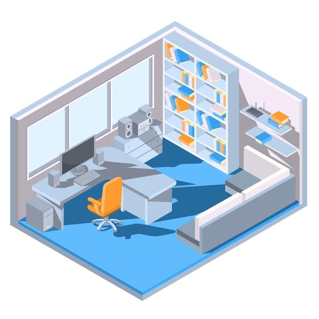 Vector dise o isom trico de una oficina en casa for Programa de diseno de oficinas gratis
