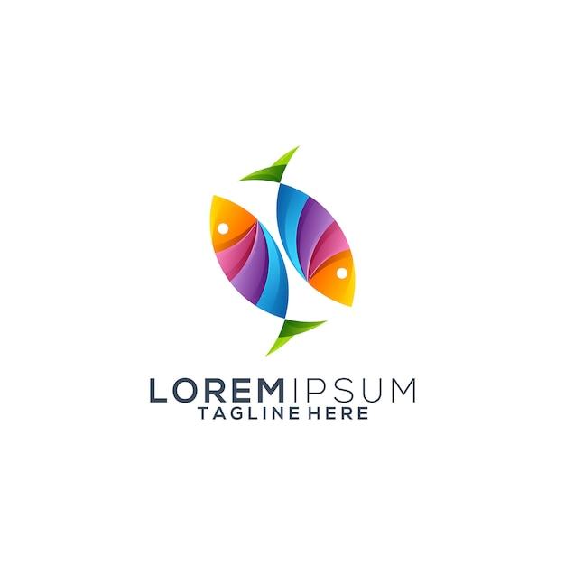 Vector de diseño de logo de peces coloridos Vector Premium