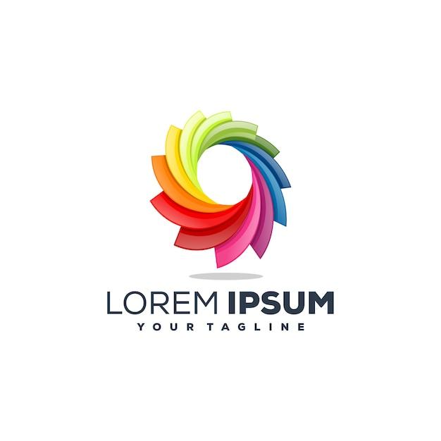 Vector de diseño de logotipo abstracto completo de color Vector Premium