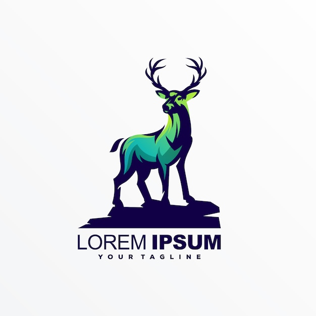 Vector de diseño de logotipo de ciervos impresionante Vector Premium