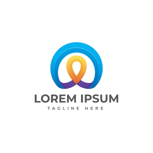 Vector de diseño de logotipo de ubicación de pin abstracto Vector Premium