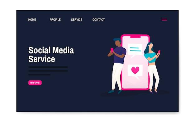 Vector de diseño de página de aterrizaje de servicio de medios sociales vector gratuito
