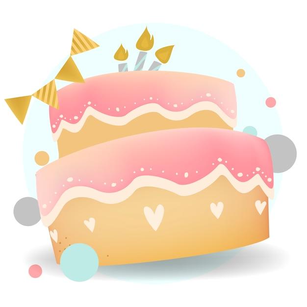 Vector de diseño de pastel de feliz cumpleaños vector gratuito