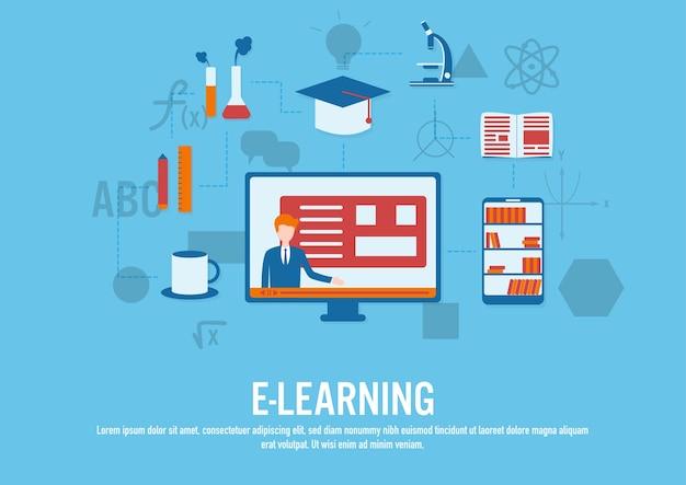 Vector de diseño plano del concepto de e-learning Vector Premium
