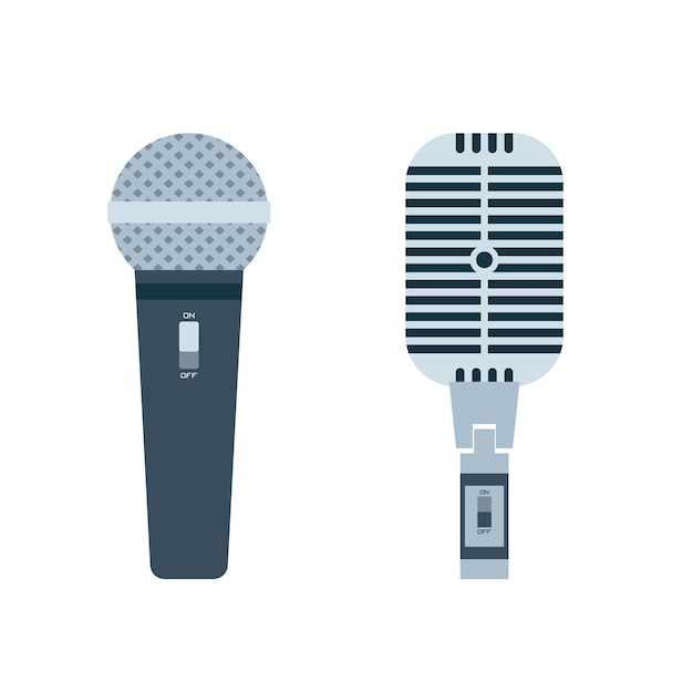 Vector de diseño plano de micrófono Vector Premium