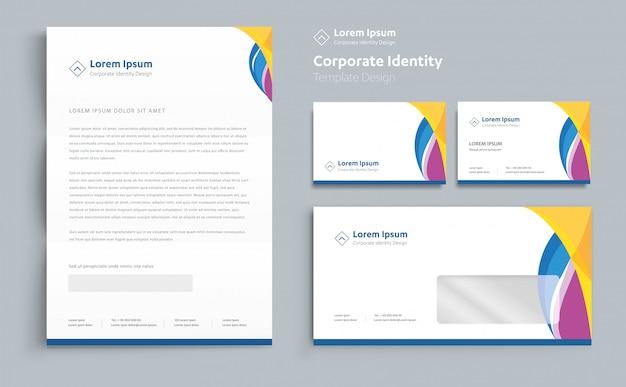 Vector de diseño de plantilla de identidad corporativa empresarial Vector Premium