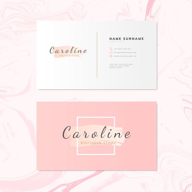 Vector de diseño de tarjeta de nombre de moda y belleza vector gratuito