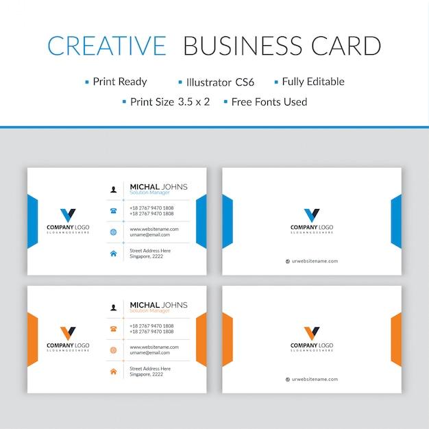 Vector de diseño de tarjeta de visita moderna mínima Vector Premium