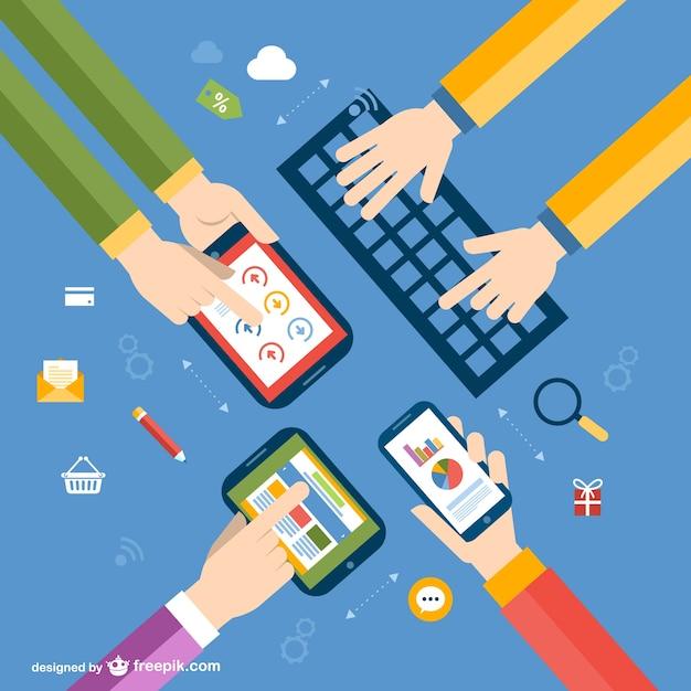 Vector dispositivos electrónicos y manos Vector Gratis