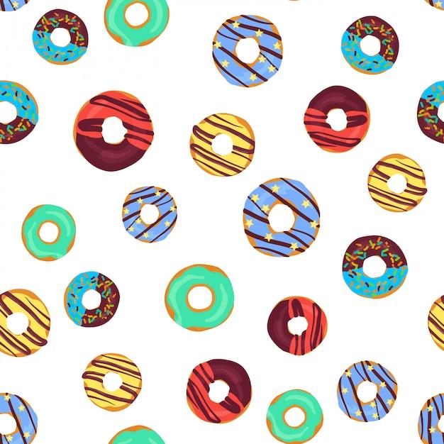 Vector divertido patrón transparente con donuts de chocolate Vector Premium