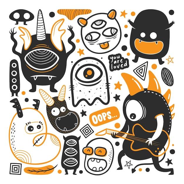 Vector de doodle dibujado a mano divertido monstruo vector gratuito