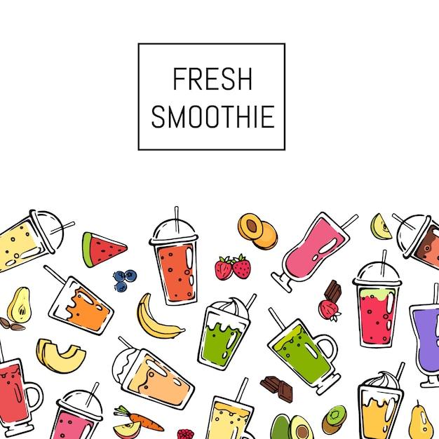Vector doodle ilustración de fondo de bebida batido fresco Vector Premium