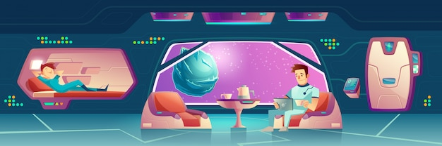 Vector dormitorio en nave espacial vector gratuito
