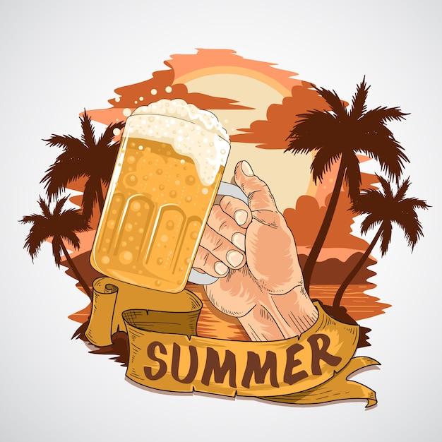 Vector de elemento de ceers de mano de mano de beer beach beach Vector Premium