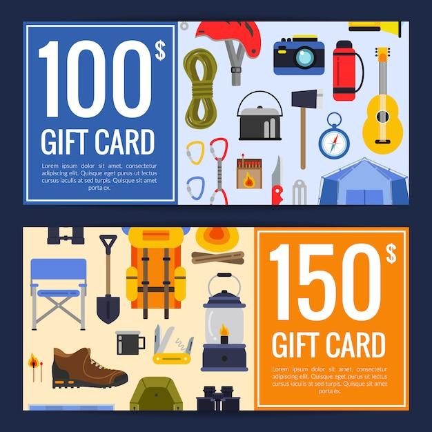 Vector elementos de estilo plano camping descuento o regalo tarjeta vale plantillas ilustración Vector Premium