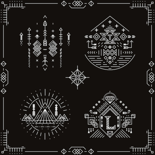 Vector elementos étnicos tribales. ornamento del patrón, ilustración india azteca nativa de moda tradicional vector gratuito