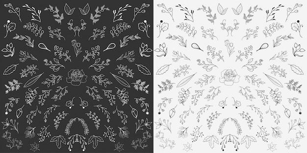 Vector de elementos florales dibujados a mano Vector Premium