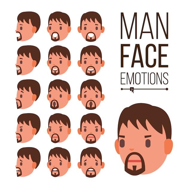 Vector de emociones de hombre. retratos de rostro masculino joven. casco sport hockey. tristeza, ira, rabia, sorpresa, choque Vector Premium