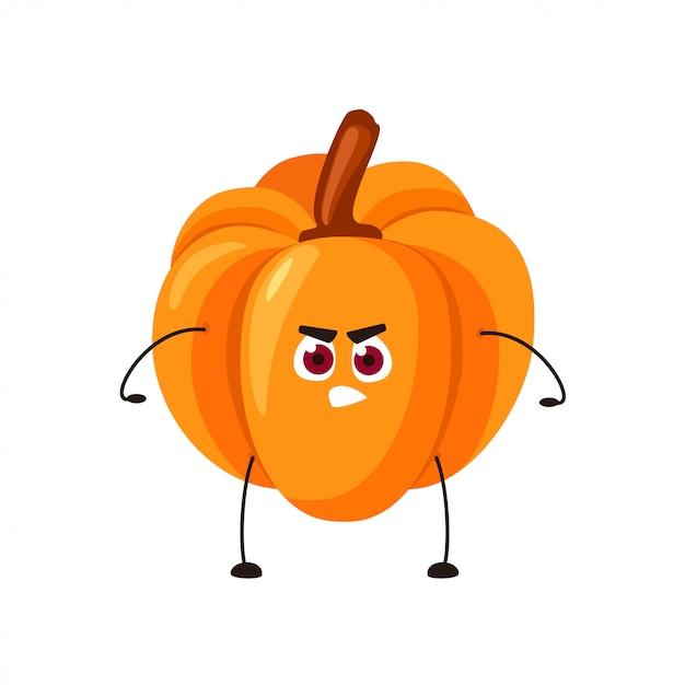 Vector emoji naranja calabaza con una cara enojada Vector Premium