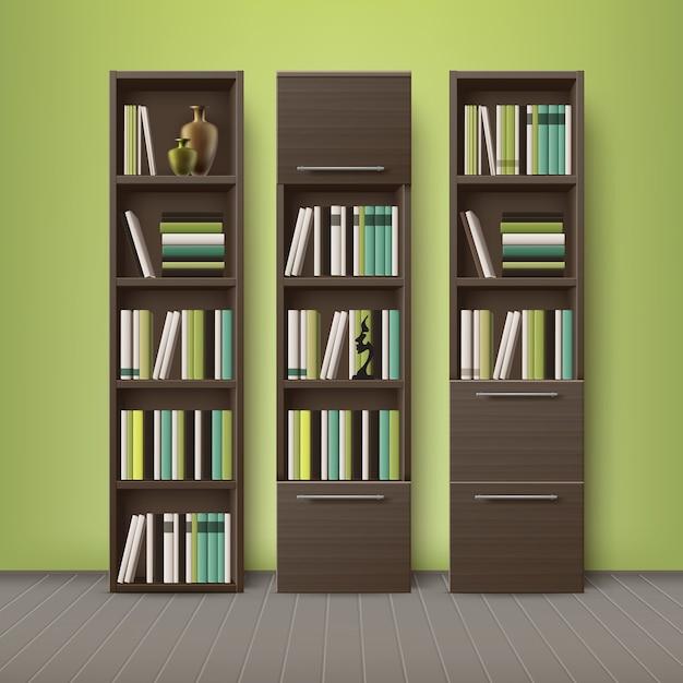 Vector estanterías de madera marrón, llenas de diferentes libros y decoraciones, de pie en el piso con fondo de pared verde oliva vector gratuito