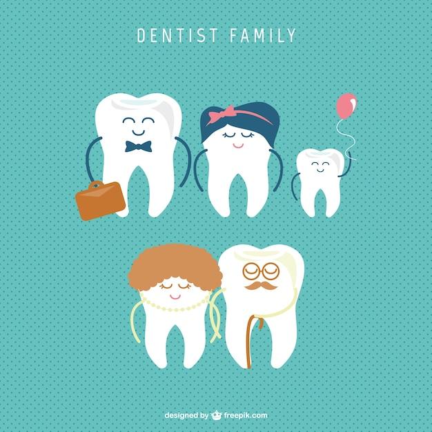 Vector de familia de dientes vector gratuito