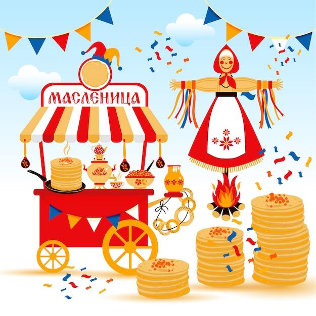 El vector fijó en el tema del carnaval ruso del día de fiesta. Vector Premium