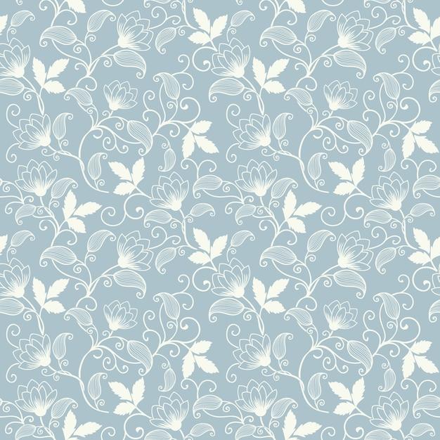 Vector flor sin fisuras patrón de fondo. textura elegante para los fondos. clásico de lujo a la antigua ornamento floral, textura transparente para fondos de pantalla, textiles, envoltura. vector gratuito