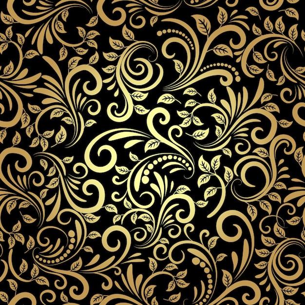 Vector floral dorado sin patrón en estilo retro vector gratuito