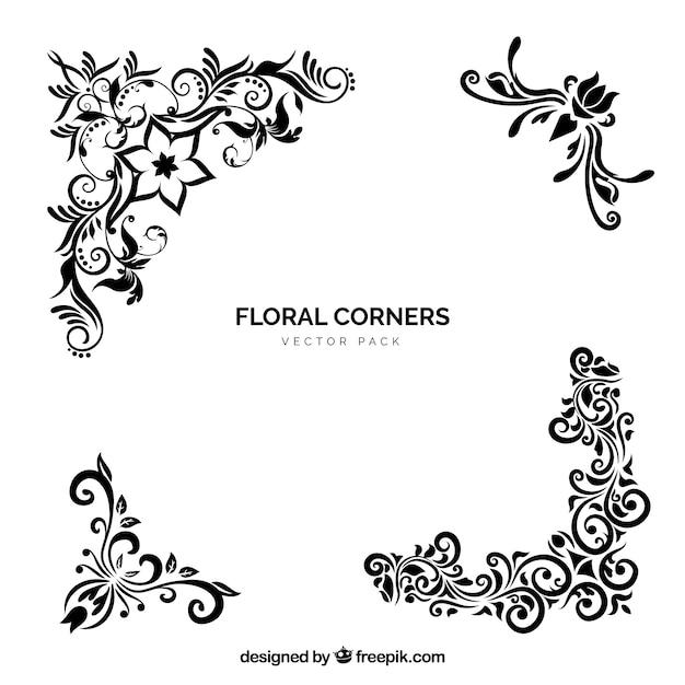 Classic Corner Flowers Leaf Vintage Line Border Retro Vector: Descargar Vectores Gratis