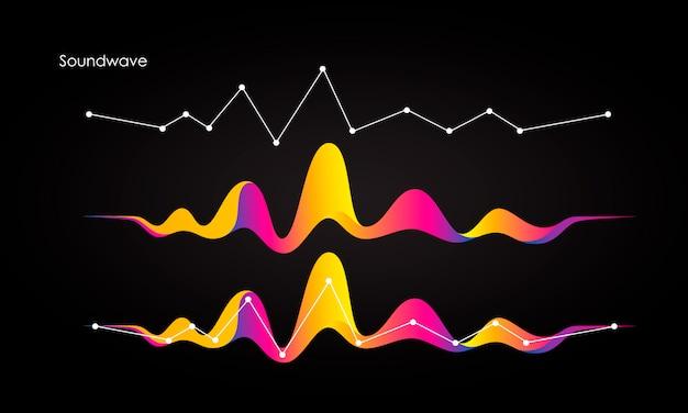 Vector de fondo abstracto con un color dinámico de ondas, líneas y partículas. Vector Premium