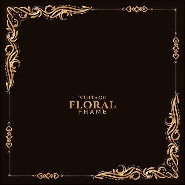 Vector de fondo abstracto marco floral dorado vector gratuito