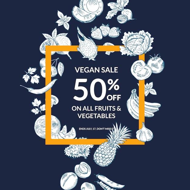 Vector el fondo bosquejado de la venta de las frutas y verduras con el marco intrépido. ilustración de venta de frutas y verduras. Vector Premium