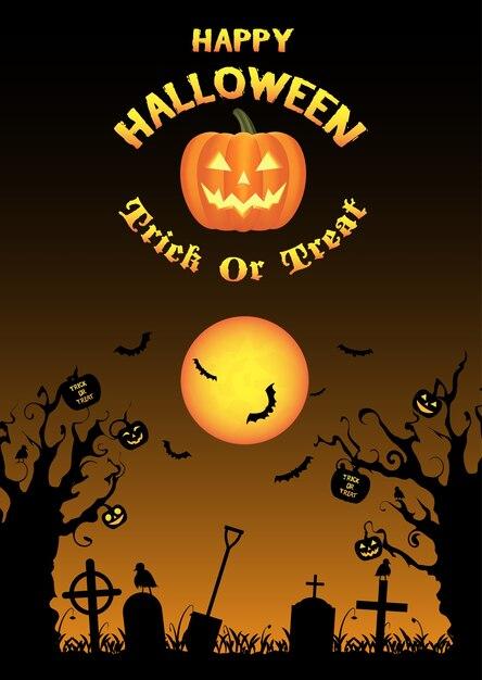 Vector de fondo de cementerio de halloween Vector Premium