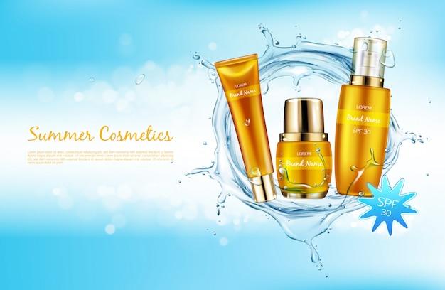 Vector el fondo cosmético realista, bandera del promo para los cosméticos del spf del verano. vector gratuito