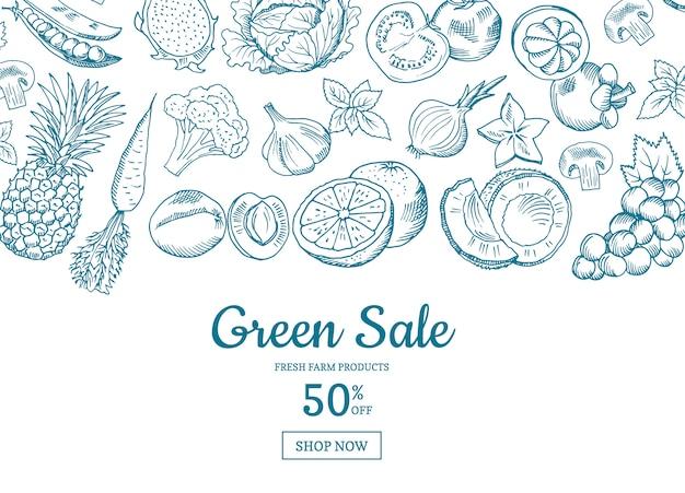 Vector el fondo horizontal dibujado mano de la venta de las frutas y verduras. ilustración de banner de venta verde Vector Premium