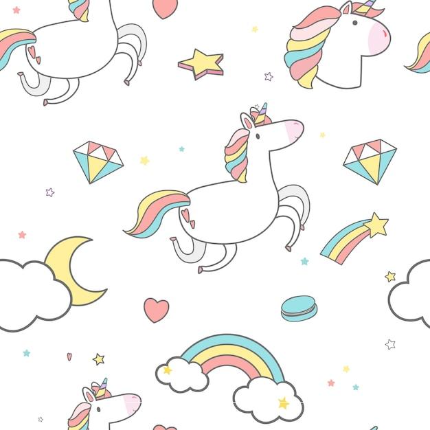 Vector de fondo unicornio de patrones sin fisuras vector gratuito