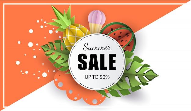 Vector fondo de verano banner 3d papel cortado Vector Premium