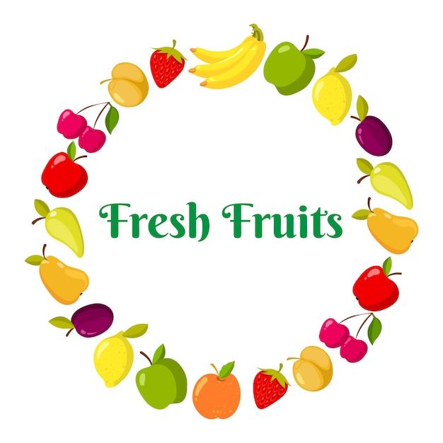 Vector de frutas y berrie en un anillo Vector Premium