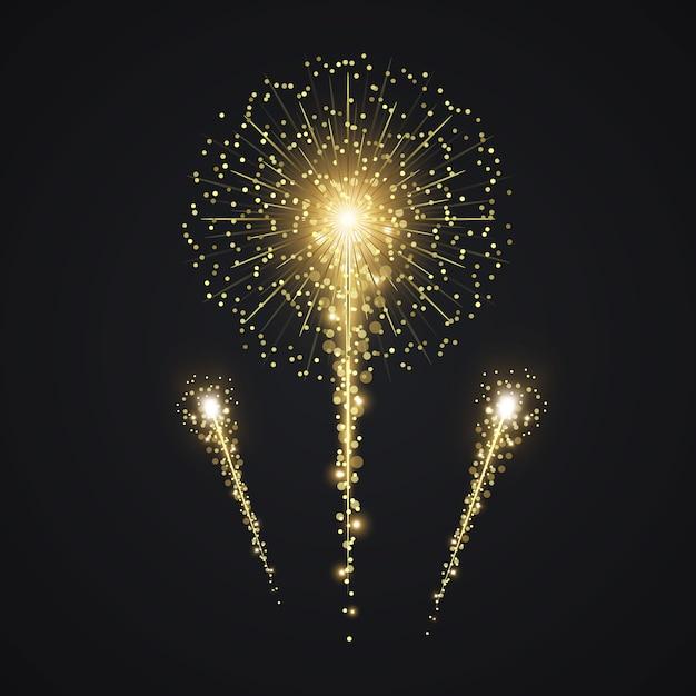 Vector de fuegos artificiales de oro Vector Premium