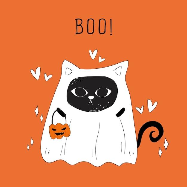 Vector de gato fantasma de halloween y calabazas doodle. Vector Premium